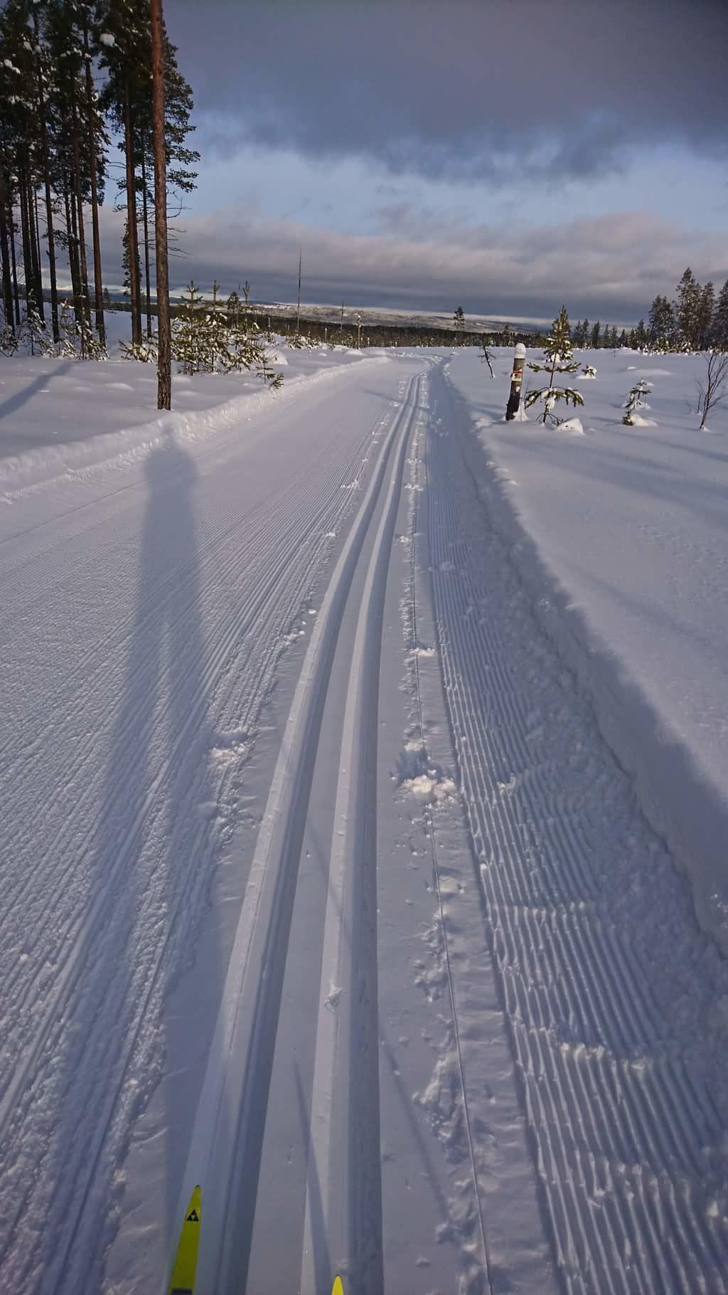Skidspår av yppersta kvalité. Här Fläcksbergsspåret. Sträckan Skidstadion-Fläcksbergstoppen tur och retur är cirka 1,3 mil. Tänk Er mars månad med värmande sol, medhavd apelsin och varm choklad i termos att njuta med vida utsikt ner mot Byvallen, Ytterberg, Sveg och Sonfjället som breder ut sig cirka 5 mil fågelvägen nordväst från Fläcksberget räknat. Foto: Hans-Erik Vallström