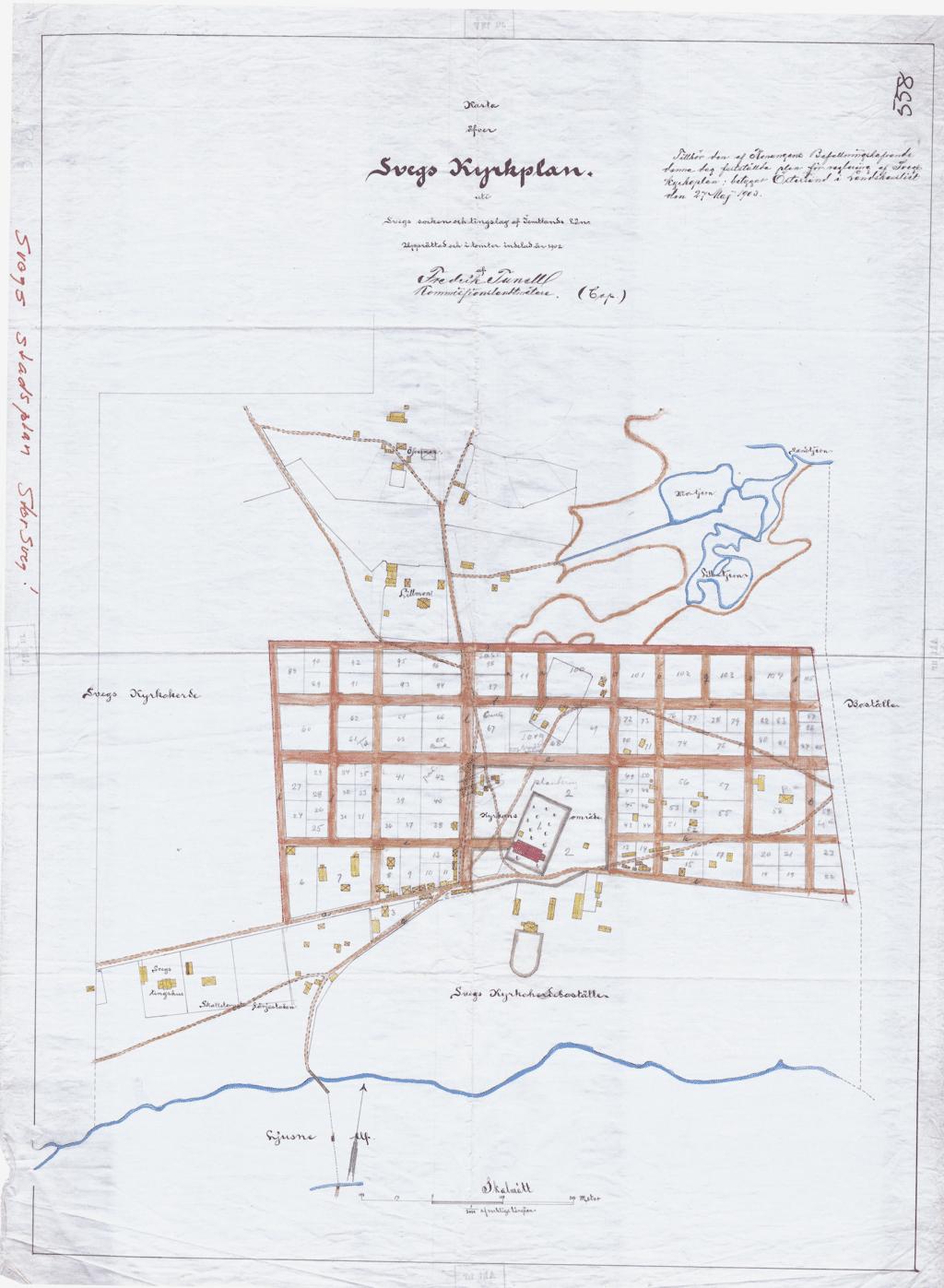 Svegs kyrkplan från 1902/1903. Bild: Karta genom kommunens arkiv