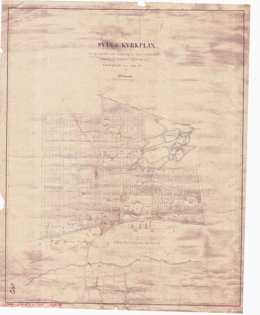 Svegs kyrkplan (som idag benämns stadsplan) från 1893/1894. Bild: Härjedalens kommun