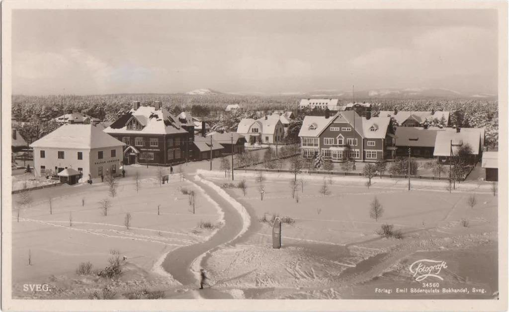 """Foto vintertid från kyrktornet. Till höger Crantgården, trevåningshus som skogsinspektor Herje Crantz (1859-1907), bosatt på Lillmon och verksam vid Bergvik och Ala, planerade vid sekelskiftet och stod färdigbyggd 1904. Tråkigt nog hann Herje inte att flytta in i på grund av sjukdom. Han avlider 1907. Fastigheten ägs idag av svegsfödda Britt-Marie Heier, född Magnusson, bosatt i Göteborg. Snett emot på andra sidan Jämtlandsgatan den ståtliga byggnaden från 1899 där Helsinglands Enskilda Bank kom att driva sina bankaffärer som följdes av AB Mälareprovinsernas Bank en kort tid, likaledes med Stockolms Handelsbank 1918 och Svenska Handelsbanken som flyttade in 1919. Fastigheten ägs idag av Härjegårdar. Den vitmålade byggnaden mitt emot banken var Halvar Jonssons affär, byggd 1914 av Petter """"Jämt-Anders"""" Andersson som 1923 även byggde egen affärslokal på Kyrkogatan (som längre framåt i tiden inhyste Edehags Järnhandel) varmed Jämt-Anders avslutade sin byggnadsiver 1939 med Anderssons Ekiperingsaffär i hörnan Kyrkogatan/Berggatan som gatan faktiskt heter och inte Bergsgatan som det står på några gatuskyltar. En del av uppgifterna här ovan kommer från Patrik Larssons skrift """"Svegsmons municipalsamhälle – från kyrkoplan 1903 till stadsplan 1932"""". Patrik Larsson var tidigare miljöinspektör vid Härjedalens kommun, numer verksam vid Ragunda kommun. Foto: privat"""