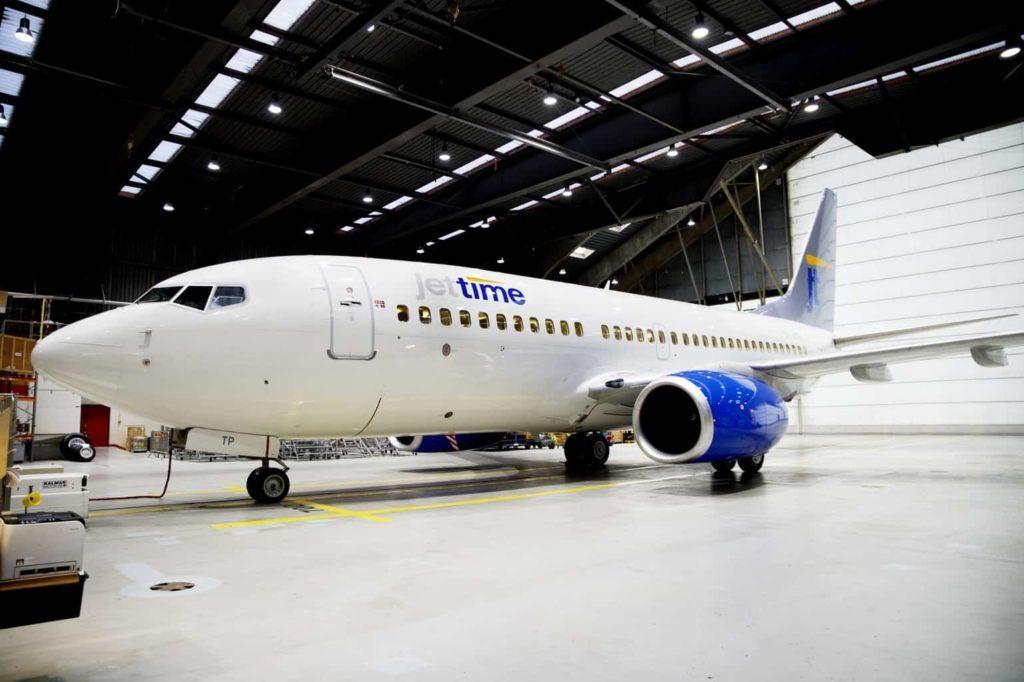 Planet från det danska flygbolaget Jet-time hade drygt 130 passagerare ombord. Foto: Pressbild Jettime / Erik Refner