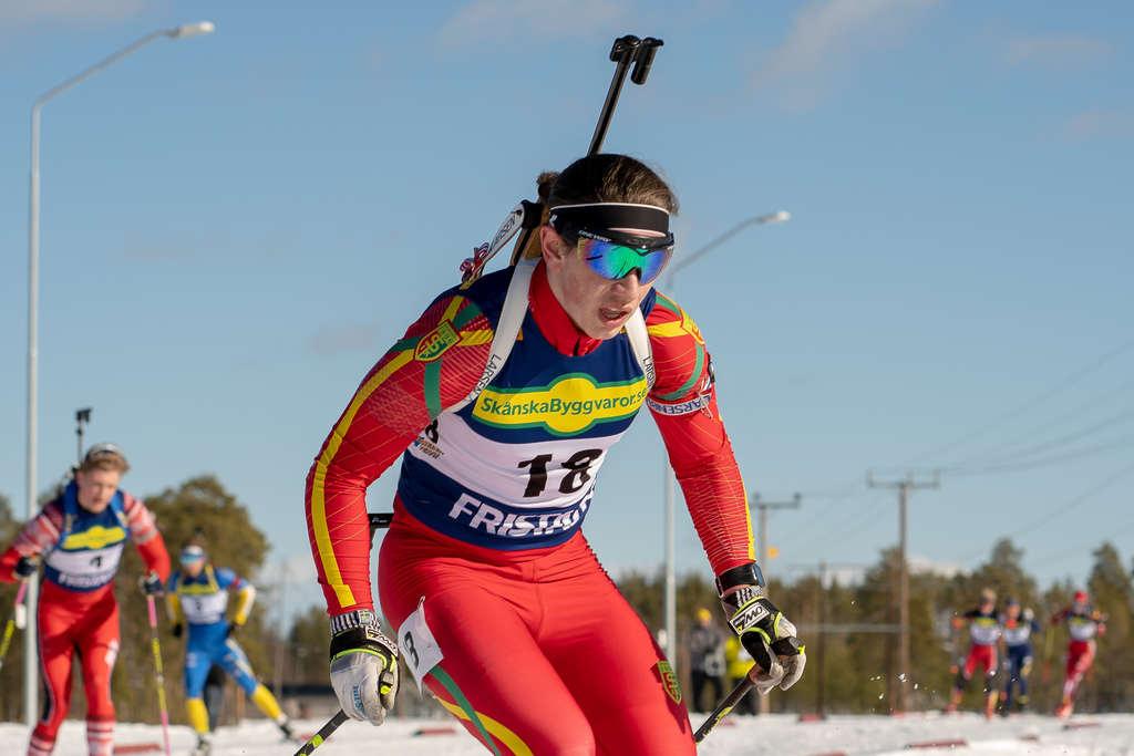 Svegs IK:s Arvid Andersson slutade på nionde plats i lördagens masstart och sjunde plats i söndagens sprint. Foto: Morgan Grip