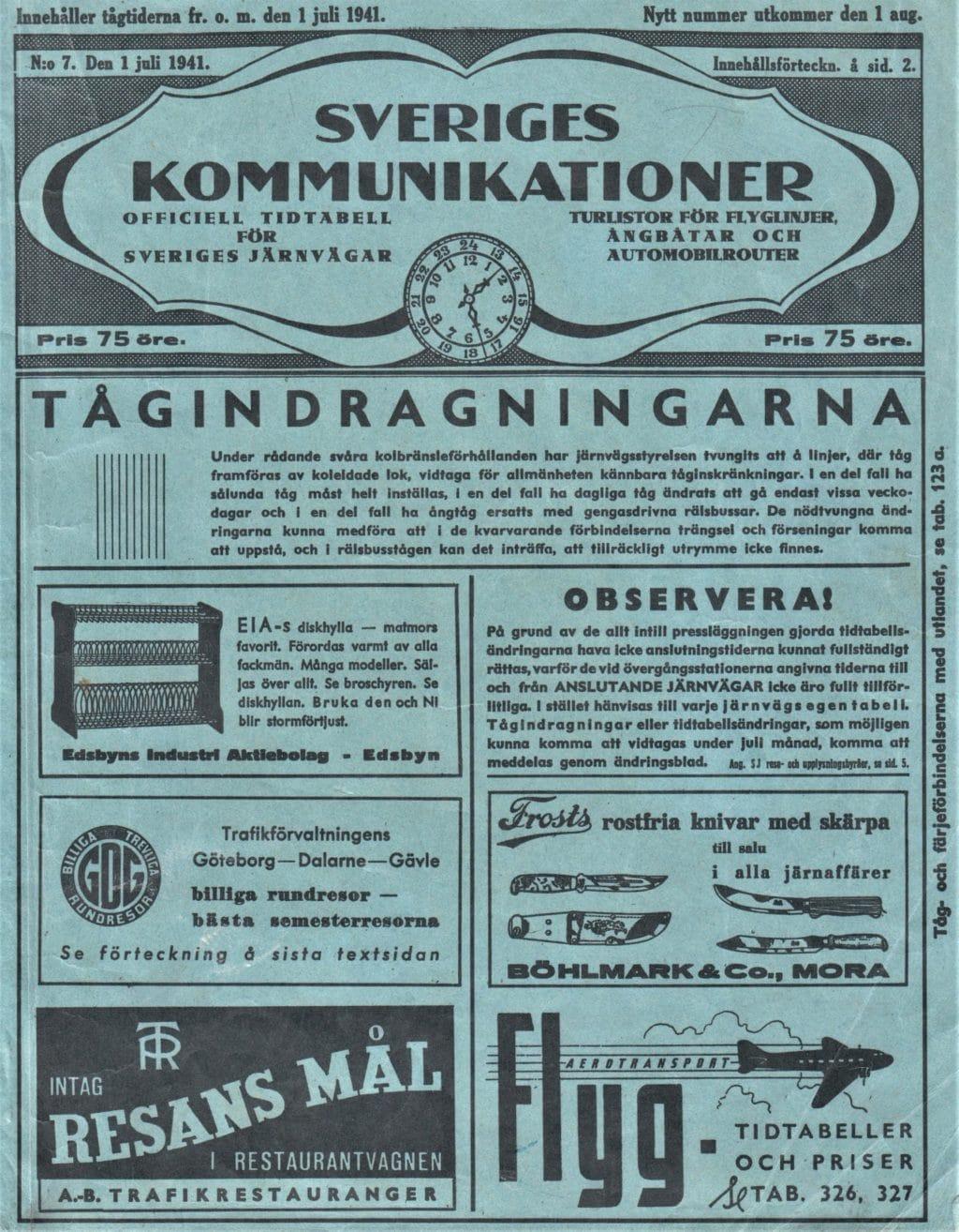 Kommunikationstabellen från 1941 som var SJ:s egen lilla bibel.