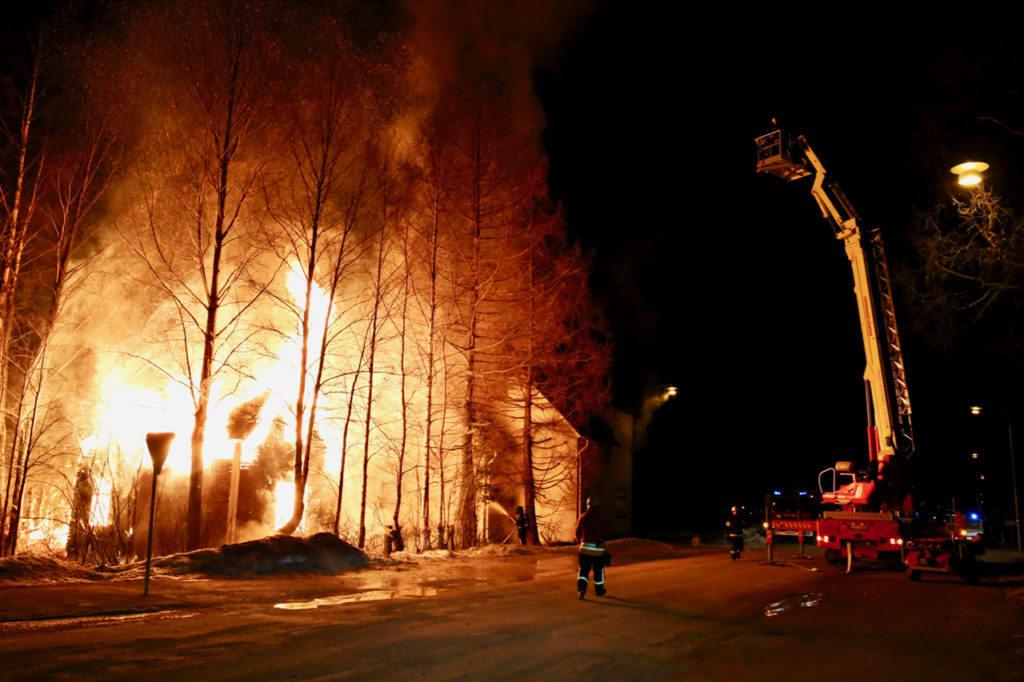 Brand i Sveg. Foto: Morgan Grip